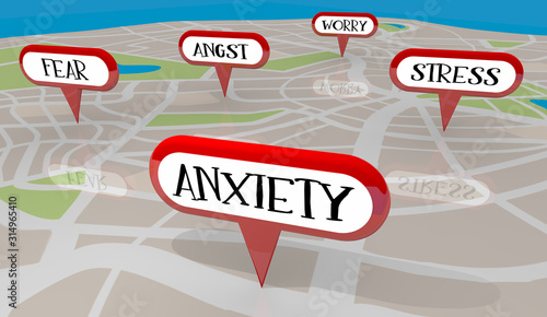 Stress Anxiety Fear Worry Angst Map Pins 3d Illustration Canvas Print