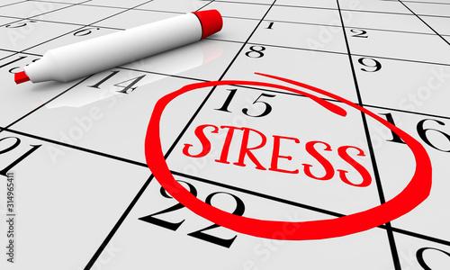 Stress Anxiety Worry Fear Calendar Day Date Circled 3d Illustration Wallpaper Mural