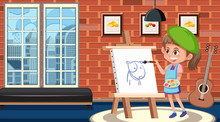 Girl Painting On Canvas In The...