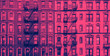Leinwanddruck Bild - New York City historic apartment building panoramic exterior view in blue and pink color overlay