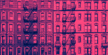 New York City Historic Apartment Building Panoramic Exterior View In Blue And Pink Color Overlay