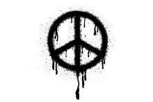 Symbol Of Pacifism And Peace Spray Paint Vector Elements Isolated On White Background, Lines And Drips Black Ink Splatters, Ink Blots Set, Street Style.