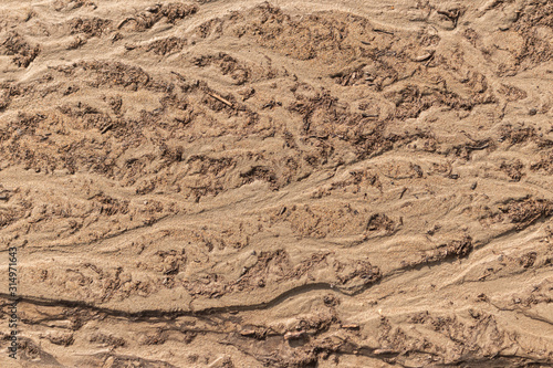 View from above on land surface, mud dirt and sand texture Canvas Print