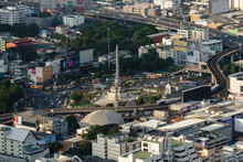 Aerial View Of Victory Monument In Central Transportation In Bangkok, Thailand