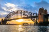 sydney harbour bridge at dusk in sydney, australia