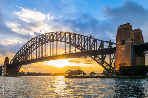sydney harbour bridge at dusk in sydney, australia Wallpaper Mural