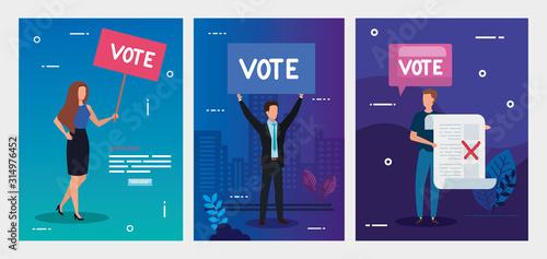 Obraz set poster of vote with business people vector illustration design - fototapety do salonu