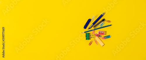 the minimalism concept with top view of office supplies on the table