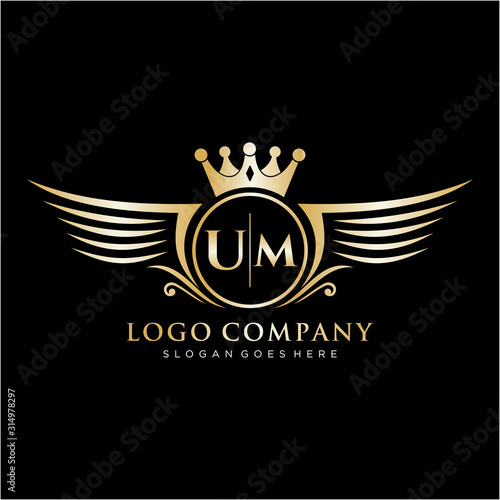 UM  Letter Initial with Royal Wing Logo Template. Wallpaper Mural
