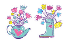 Kittle And Boot With Spring Flowers. Hand Drawn Vector Illustration. Cartoon Style.