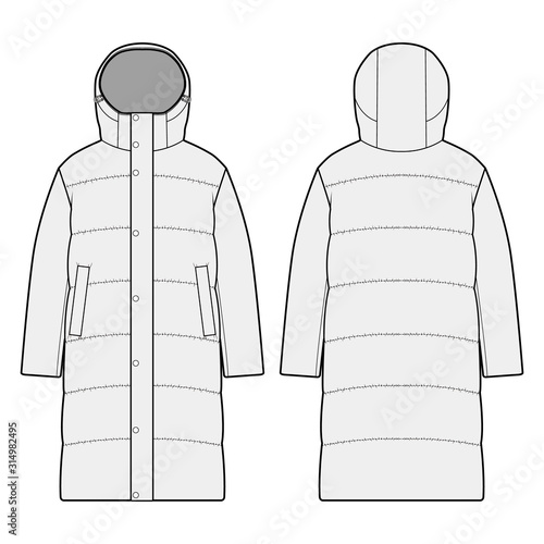 Fototapeta Down Jacket fashion flats template