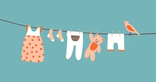 Baby Clothes On Clothesline Hanging And Drying. Clean Apparel On A Rope. Colorful Vector Illustration On Blue