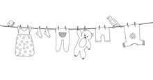 Baby Clothes On Clothesline. Kid Apparel After Washing Hanging On A Rope. Laundry For Newborn, Girl Or Boy. Vector Outline
