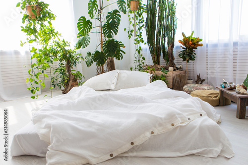 natural eco-friendly linen bed in the interior Tableau sur Toile