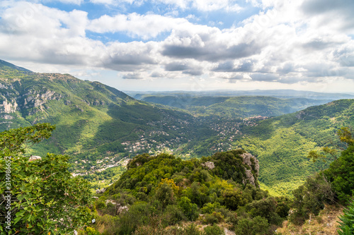 View of the Alpes-Maritimes mountains and valleys in the Provence region from the medieval hilltop village of Gourdon, France