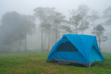 Tent Camping In Mist And Fog A...