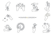 Beauty Boho Logo Collection With Hand, Rose,crystal,sun,moon,star.Vector Illustration For Icon,logo,sticker,printable And Tattoo
