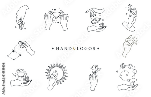 Photo Beauty boho logo collection with hand, rose,crystal,sun,moon,star