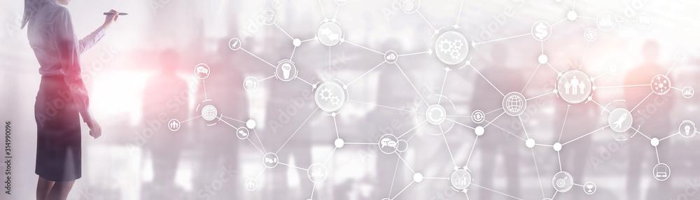 Fototapeta ommunication network. Horizontal Panoramic Business Background. Organisational structure on virtual banner.