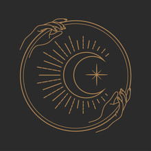 Vector Abstract Logo Design Template In Trendy Linear Minimal Style - Hands Holding Moon With Eye - Abstract Symbol For Cosmetics And Packaging, Jewellery, Hand Crafted Or Beauty Products