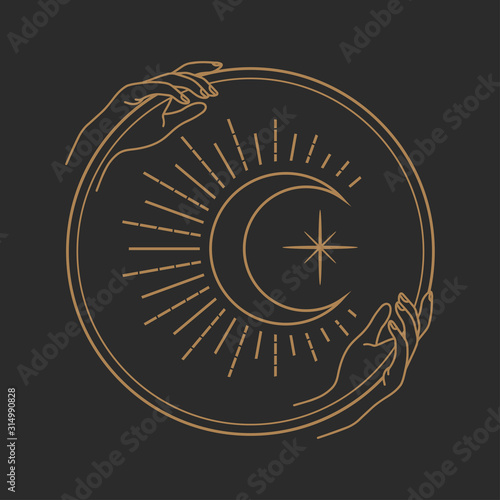 Vector abstract logo design template in trendy linear minimal style - hands holding moon with eye - abstract symbol for cosmetics and packaging, jewellery, hand crafted or beauty products Wall mural