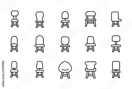Fototapeta Simple set of chair modern thin line icons.