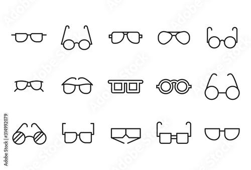 Obraz Premium set of glasses line icons. - fototapety do salonu