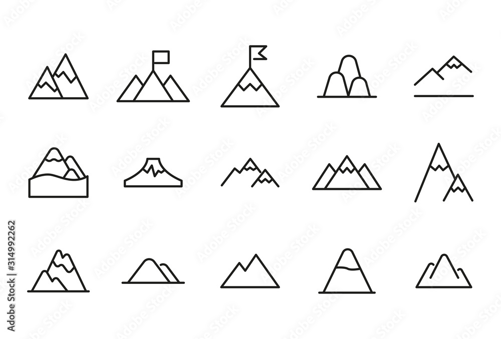 Fototapeta Vector line icons collection of mountain