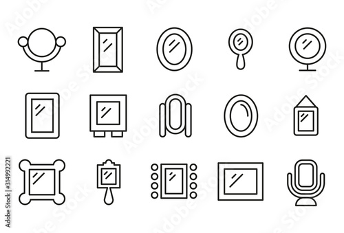 Simple set of mirror modern thin line icons.