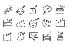 Premium Set Of Sleep Line Icons.