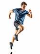 Leinwanddruck Bild - one caucasian runner running jogger jogger young man in studio isolated on white background