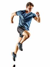 One Caucasian Runner Running J...