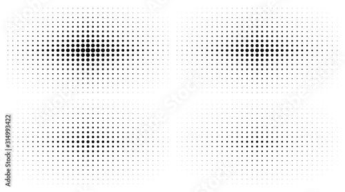 Set of Halftone gradient textures isolated on white background Tablou Canvas