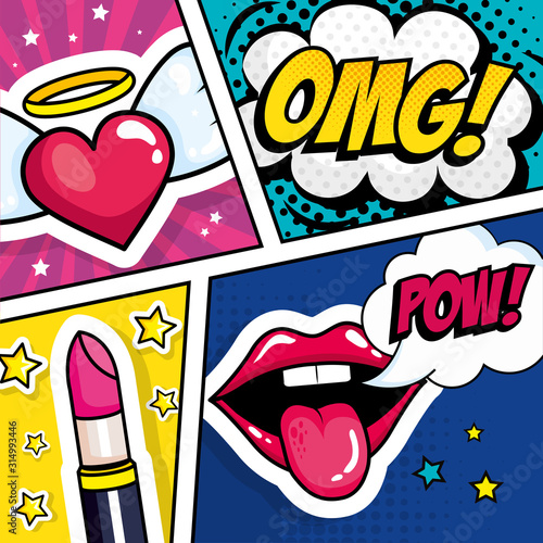 Plakaty Pop Art  lipstick-with-expressions-and-heart-pop-art-style-vector-illustration-design