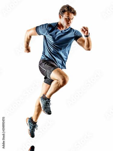 Fototapeta one caucasian runner running jogger jogger young man in studio isolated on white background obraz