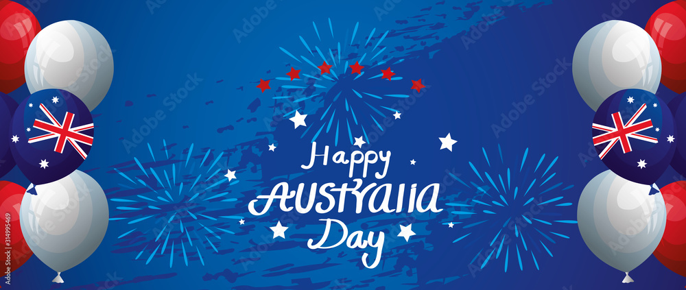 Fototapeta happy australia day with balloons helium decoration vector illustration design