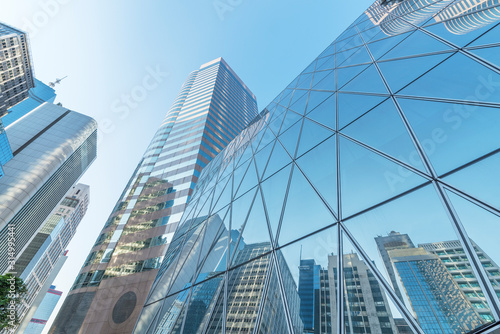 Exterior of modern architecture in downtown. Building abstract background