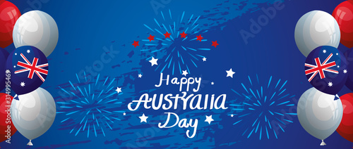Obraz happy australia day with balloons helium decoration vector illustration design - fototapety do salonu
