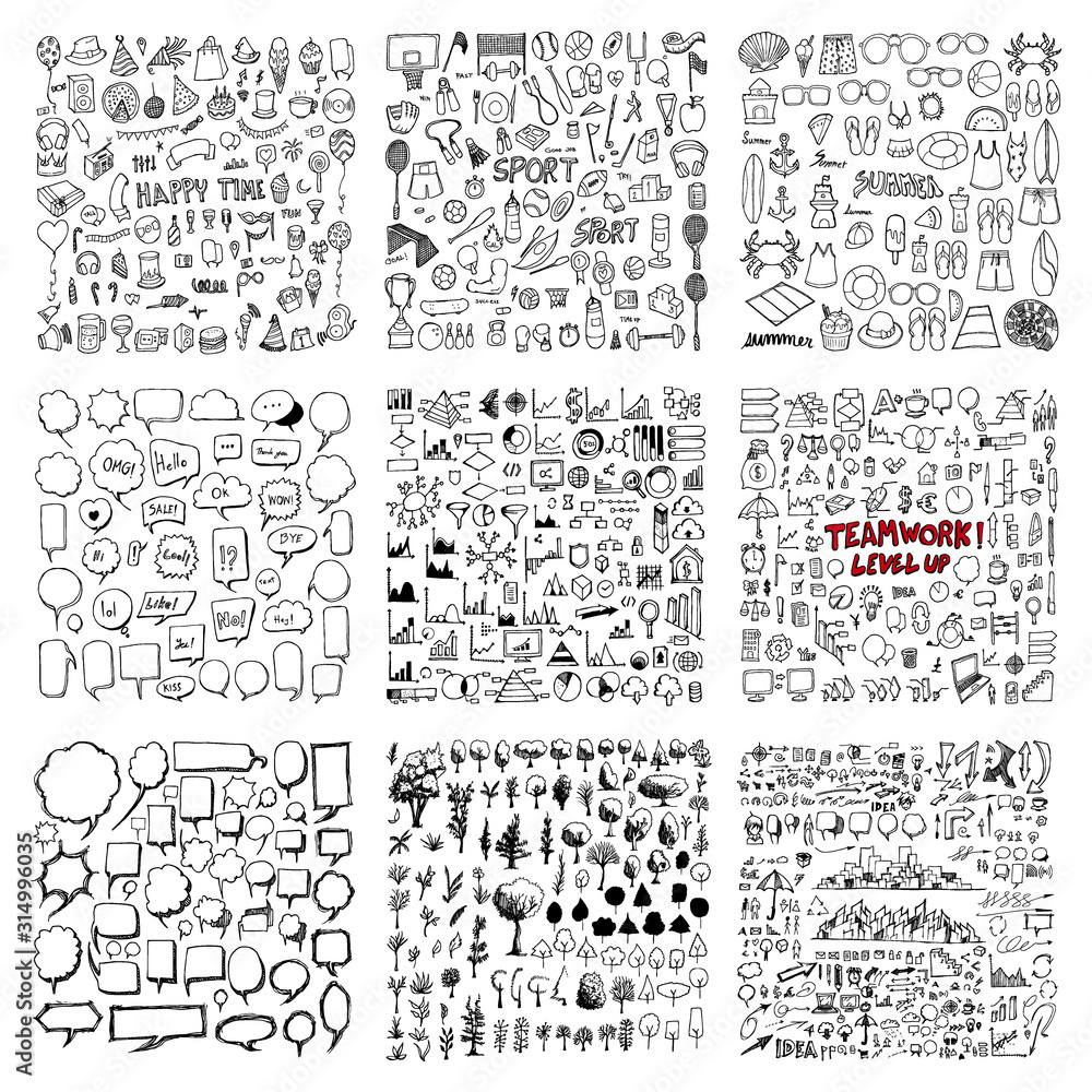 Fototapeta Big set Drawing illustration Hand drawn doodle Sketch line vector of Party, Sport, Summer, Speech Bubble, Tree, Information, Business eps10