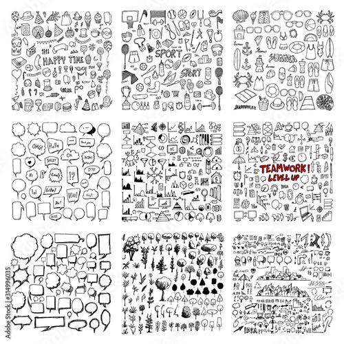 Obraz Big set Drawing illustration Hand drawn doodle Sketch line vector of Party, Sport, Summer, Speech Bubble, Tree, Information, Business eps10 - fototapety do salonu