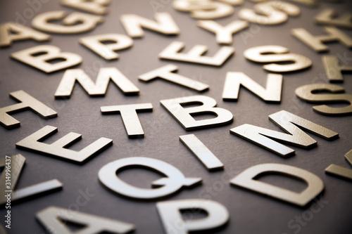 Photographie Mixed letters pile closeup photo