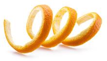 Orange Peel Or Orange Twist On White Background. Close-up.