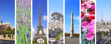 Set Of Vertical Banners With Landmarks Of Paris, France
