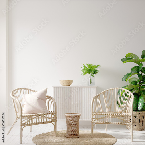 plakat Home interior background with wicker furniture and decor, empty white wall mockup, 3d render