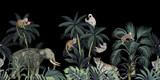 Tropikalna noc rocznika dzikich zwierząt słoń, małpa, lenistwo, palmy, liście palmowe i roślin kwiatowy bezszwowe granica czarne tło. Tapeta egzotycznej dżungli. - 314999814