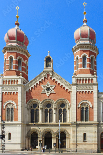 View of Pilsen Great Synagogue, built in 1893 and representing a mixture of styles - from the onion domes of a Russian Orthodox church, to the Arabic style ceiling, to the Indian looking Aron kodesh Canvas Print