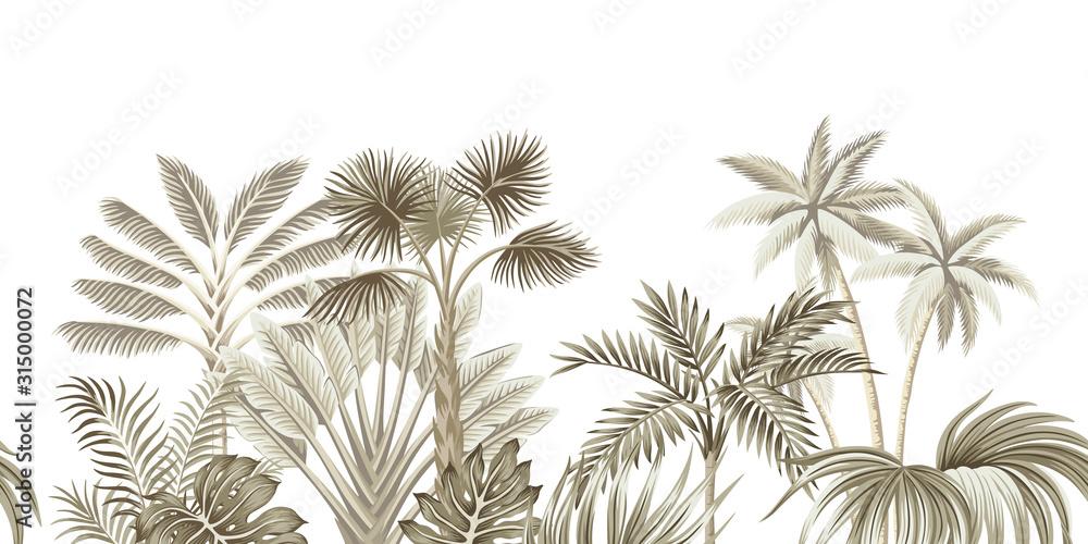 Fototapeta Tropical vintage beige botanical landscape, palm tree, banana tree, plant floral seamless border white background. Exotic green jungle wallpaper.