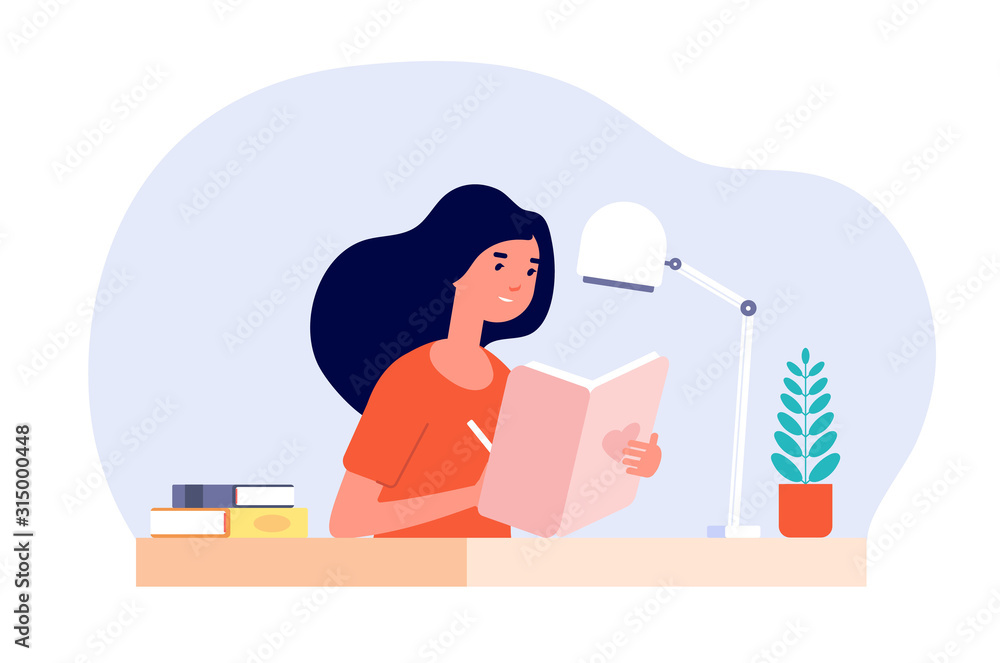 Fototapeta Girl diary. Woman write journal. Student studying with book. Teenager draws in cute paper notebook. Vector female character illustration. Write journal teen, note in diary, notebook writer
