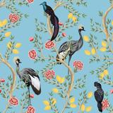 Vintage garden lemon fruit tree, rose tree, exotic bird, crane, parrot floral seamless pattern blue background. Exotic chinoiserie wallpaper. - 315000416