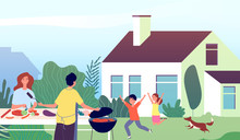 Picnic Time. Garden Bbq Party. Family Backyard Barbecue Cooking. Mother And Father With Happy Children. Vector Outdoor Leisure Illustration. Family Grilling Barbecue Party, Summer Outdoor Cooking